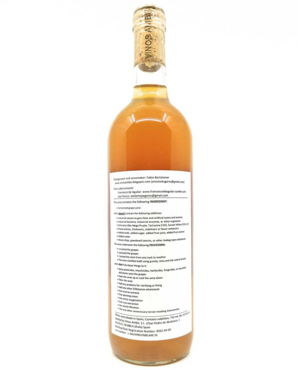 Vinos Ambiz Sauvignon Blanc back label