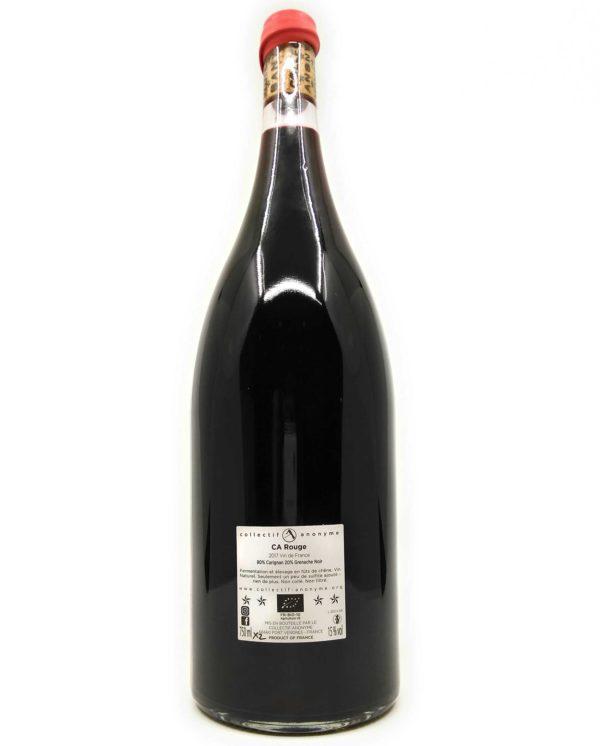 magnum wine bottle of ca rouge backlabel