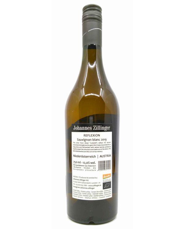 Zillinger Reflexion Sauvignon Blanc back label