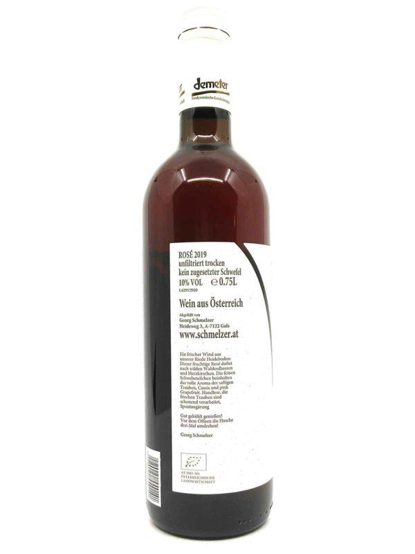 Schmelzer Rosé 2019 side label