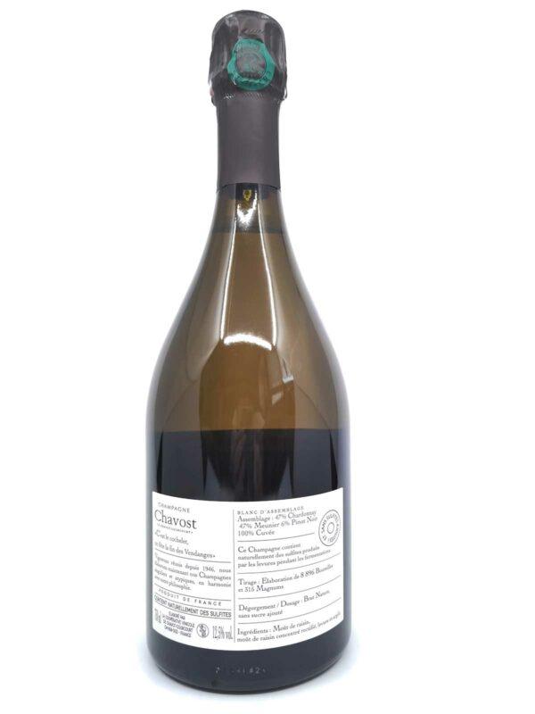 Champagne chavost Blanc d'Assemblage back label